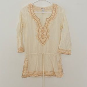 Lucky Brand XS Embroidered V Neck Tunic 3/4 Sleeve